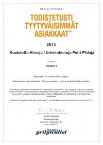 Koulutettu Hieroja Urheiluhieroja Petri Pihlaja (www.petripihlaja.fi) A4-sertifikaatti